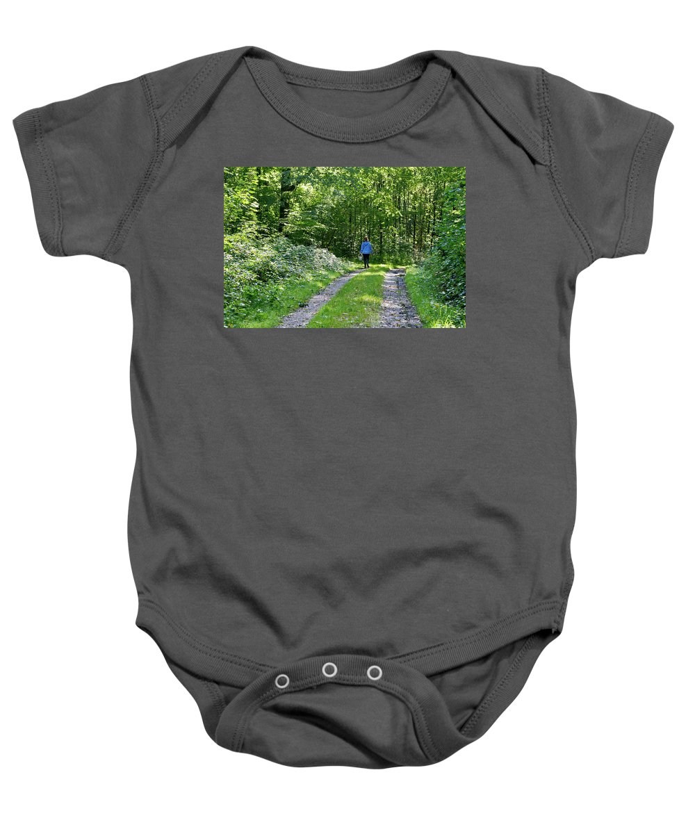 Young Baby Onesie featuring the photograph Mushroom Hunting by Bernard Barcos