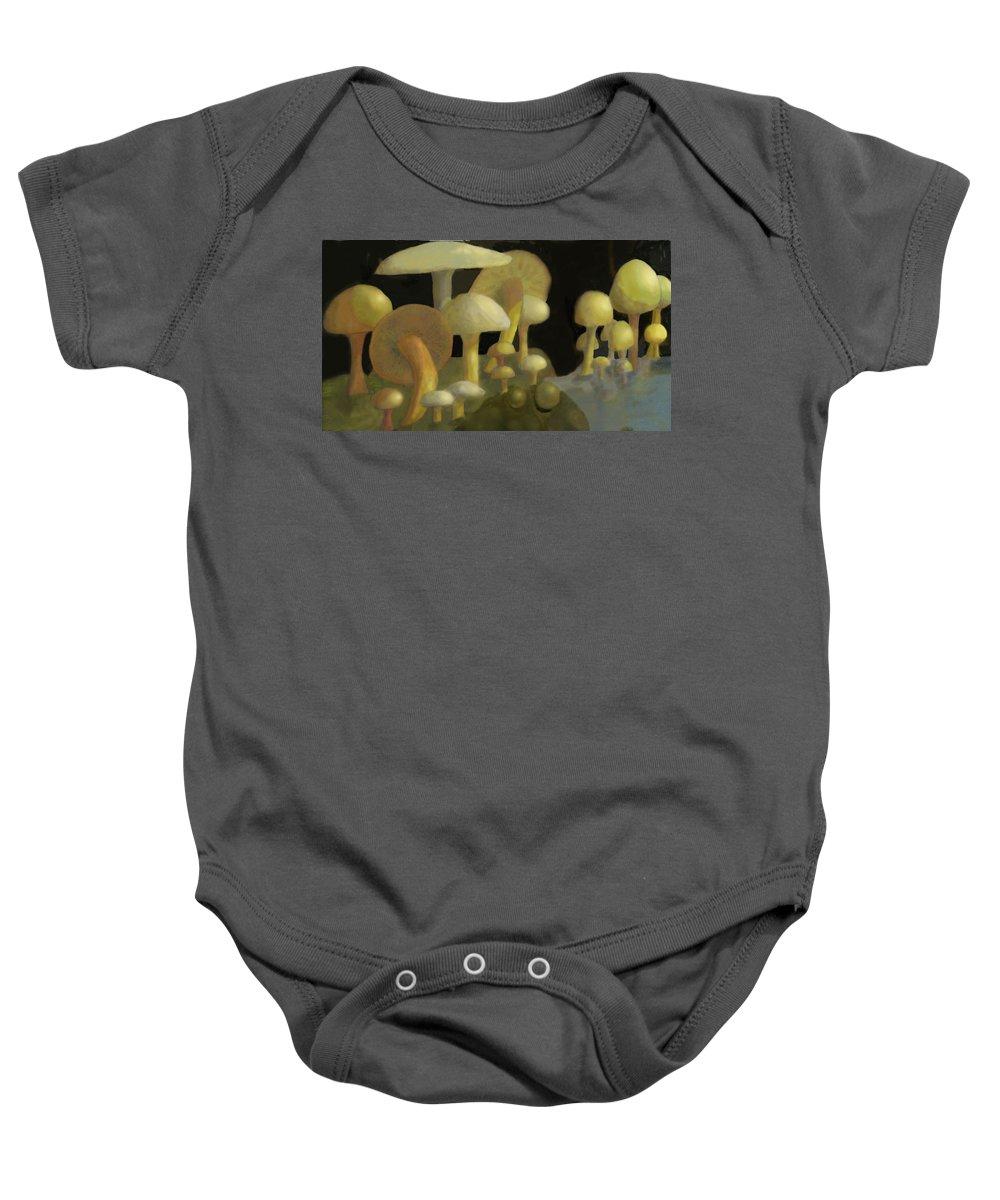 Mushrooms Baby Onesie featuring the digital art Mushrooms by Ian MacDonald