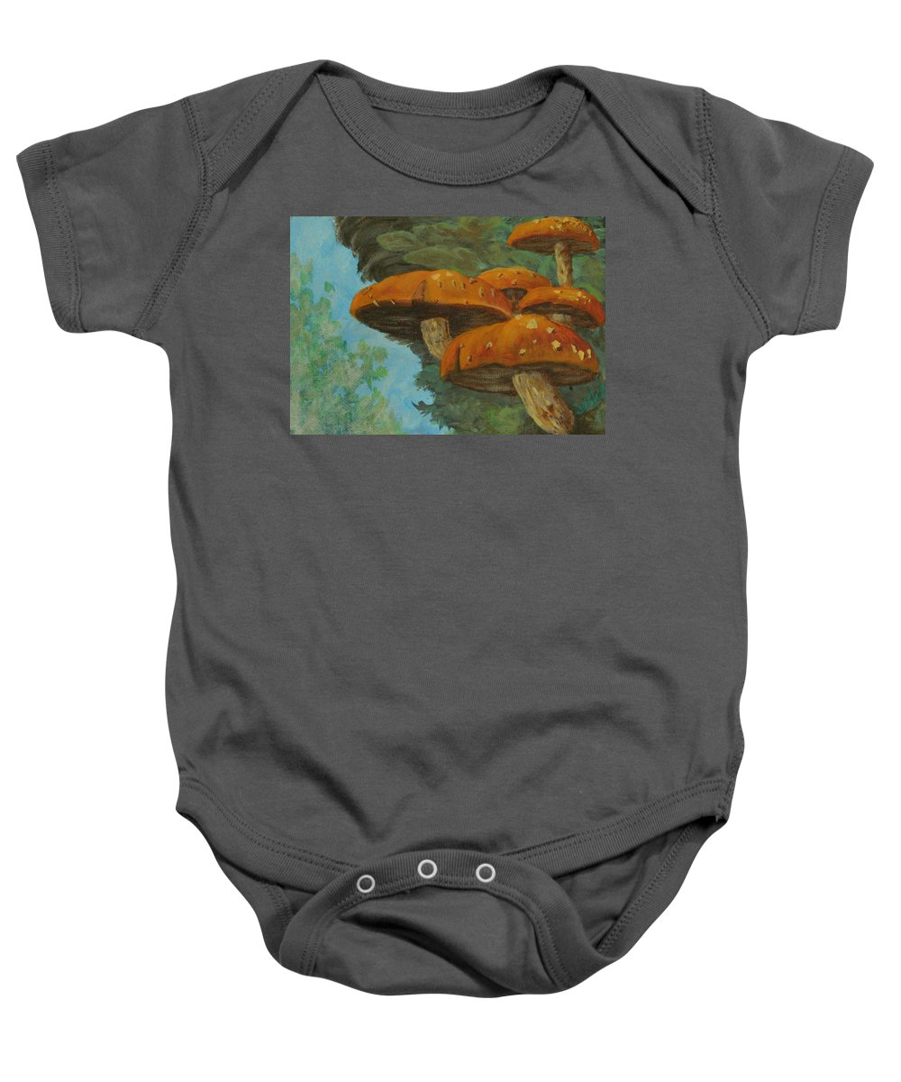 Mushroom Baby Onesie featuring the painting Mushrooms by Joi Electa