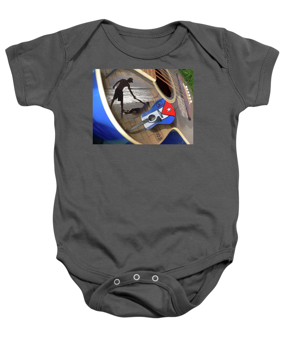 Music Baby Onesie featuring the photograph Music By The Sea by Kelly King