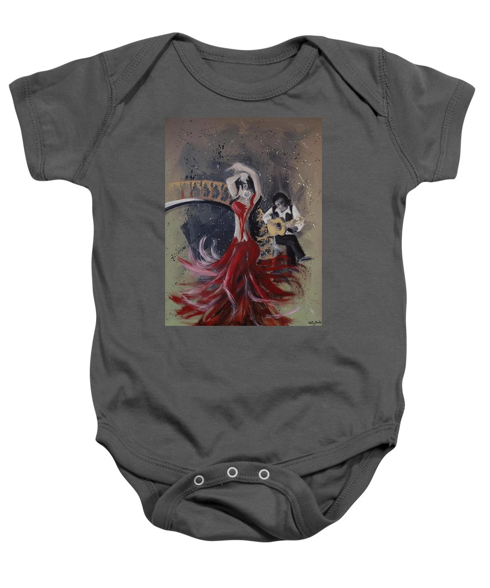 Dance Baby Onesie featuring the painting Musica Espaniol by Kelly Jade King