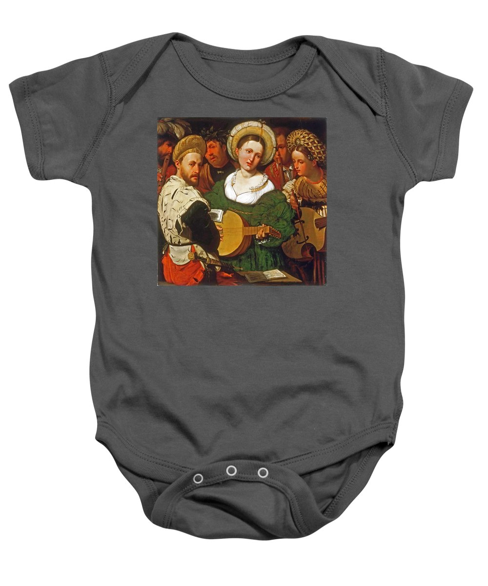 Callisto Piazza Baby Onesie featuring the painting Musical Group by Callisto Piazza