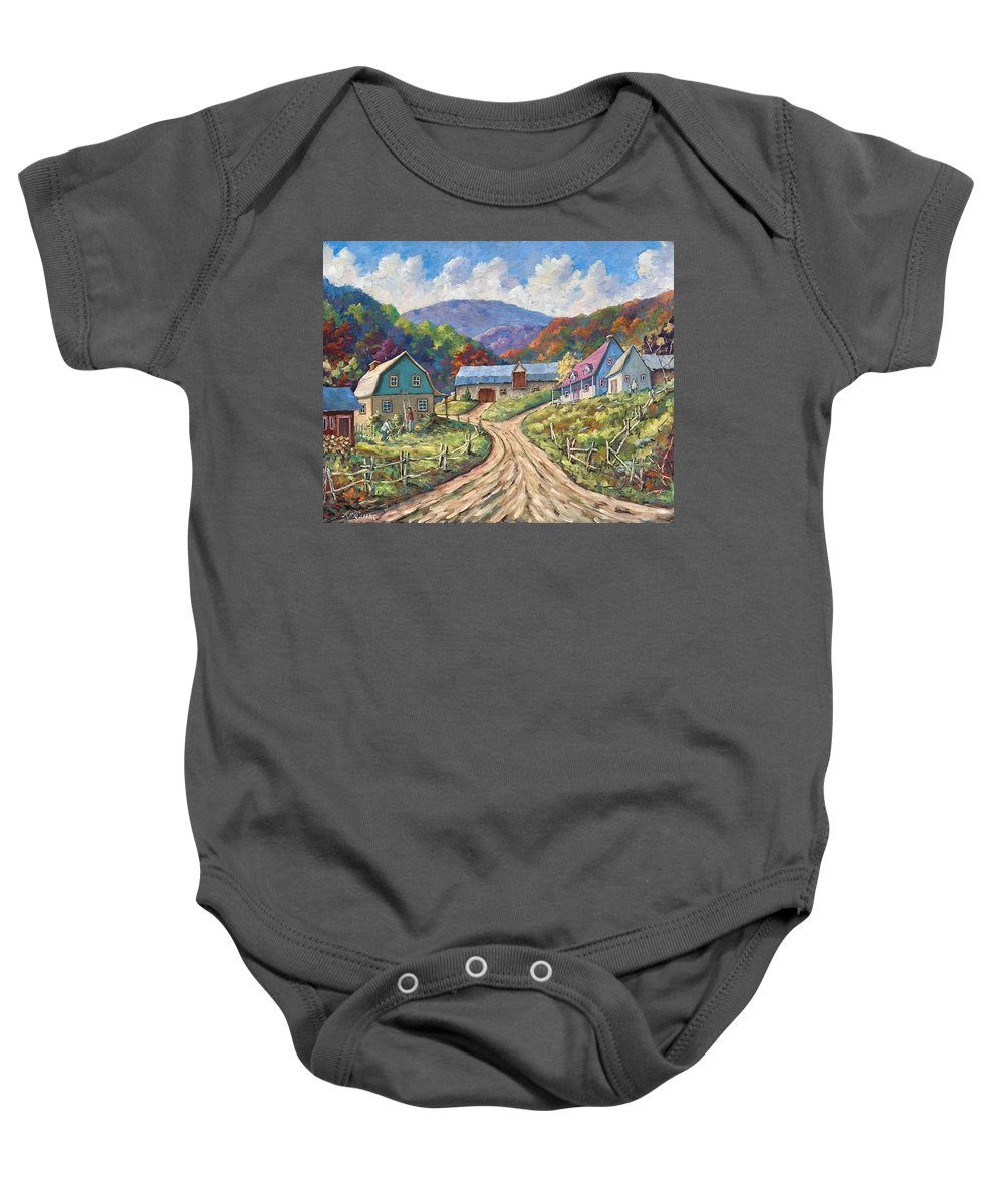 Country Baby Onesie featuring the painting My Country My Village by Richard T Pranke
