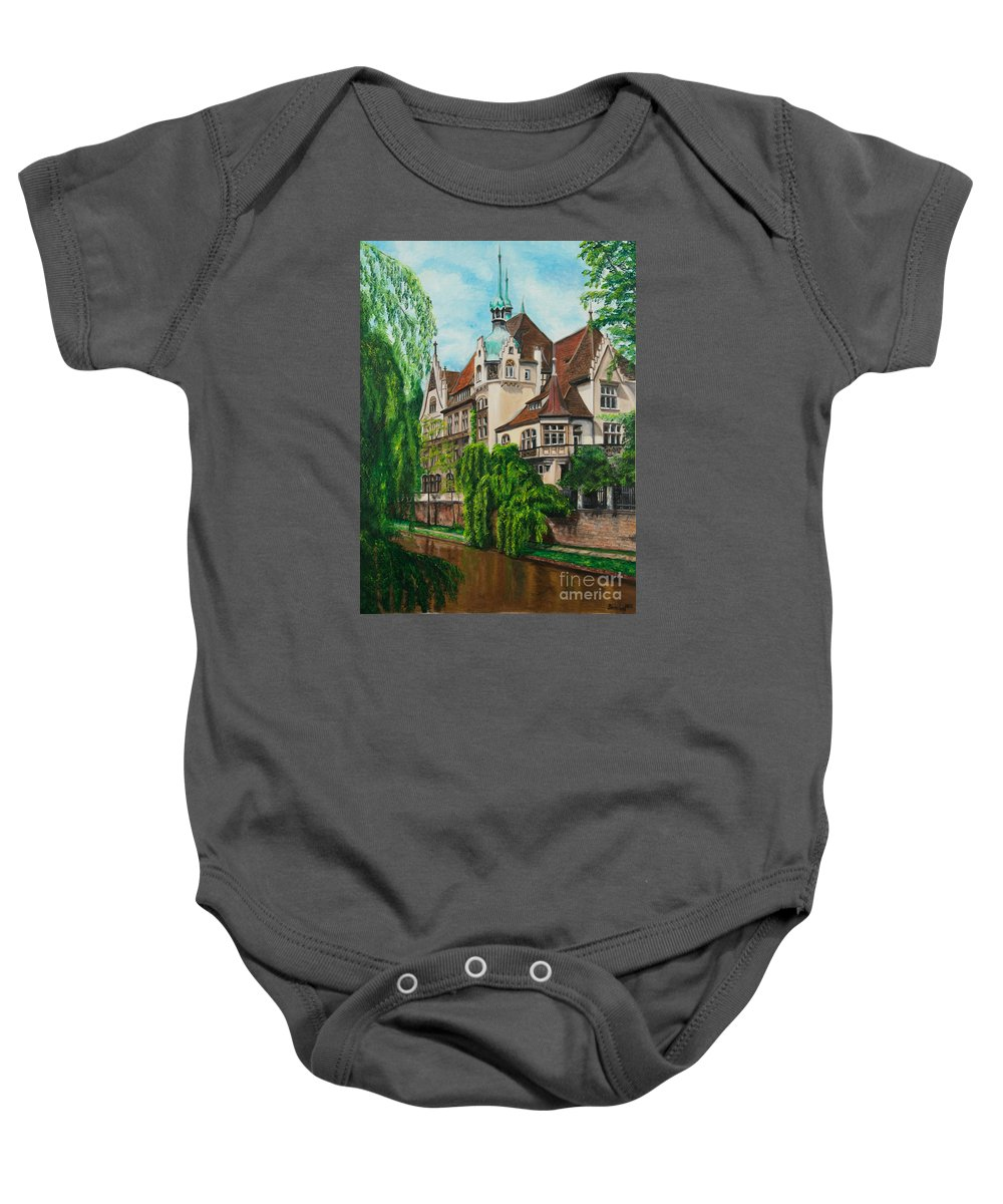 Dream House Baby Onesie featuring the painting My Dream House by Charlotte Blanchard