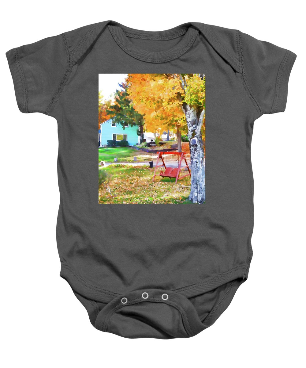 My Favorite Time Of Year Baby Onesie featuring the painting My Favorite Time Of Year by Jeelan Clark