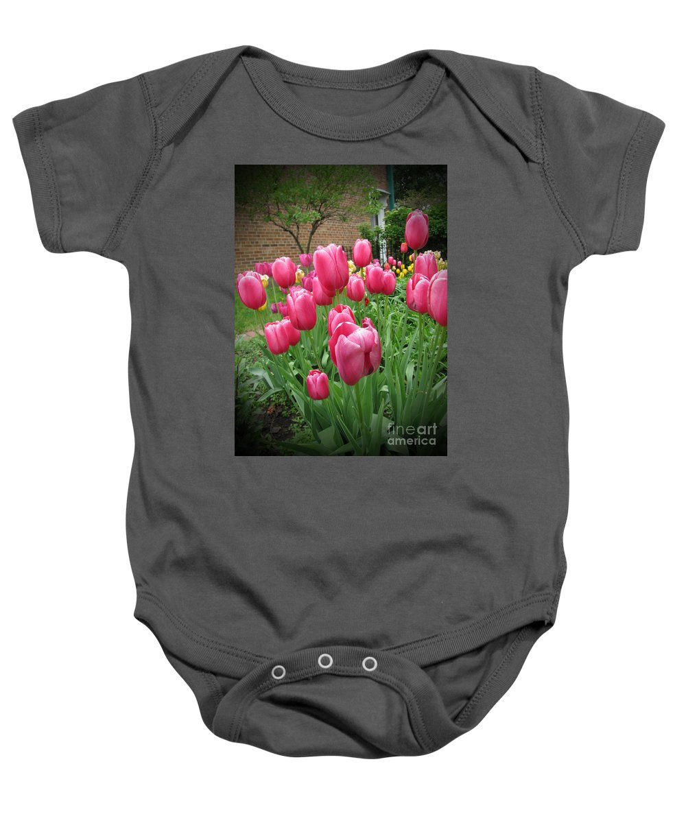 Flower Baby Onesie featuring the photograph My Focus Was On The Tulips by Adri Turner