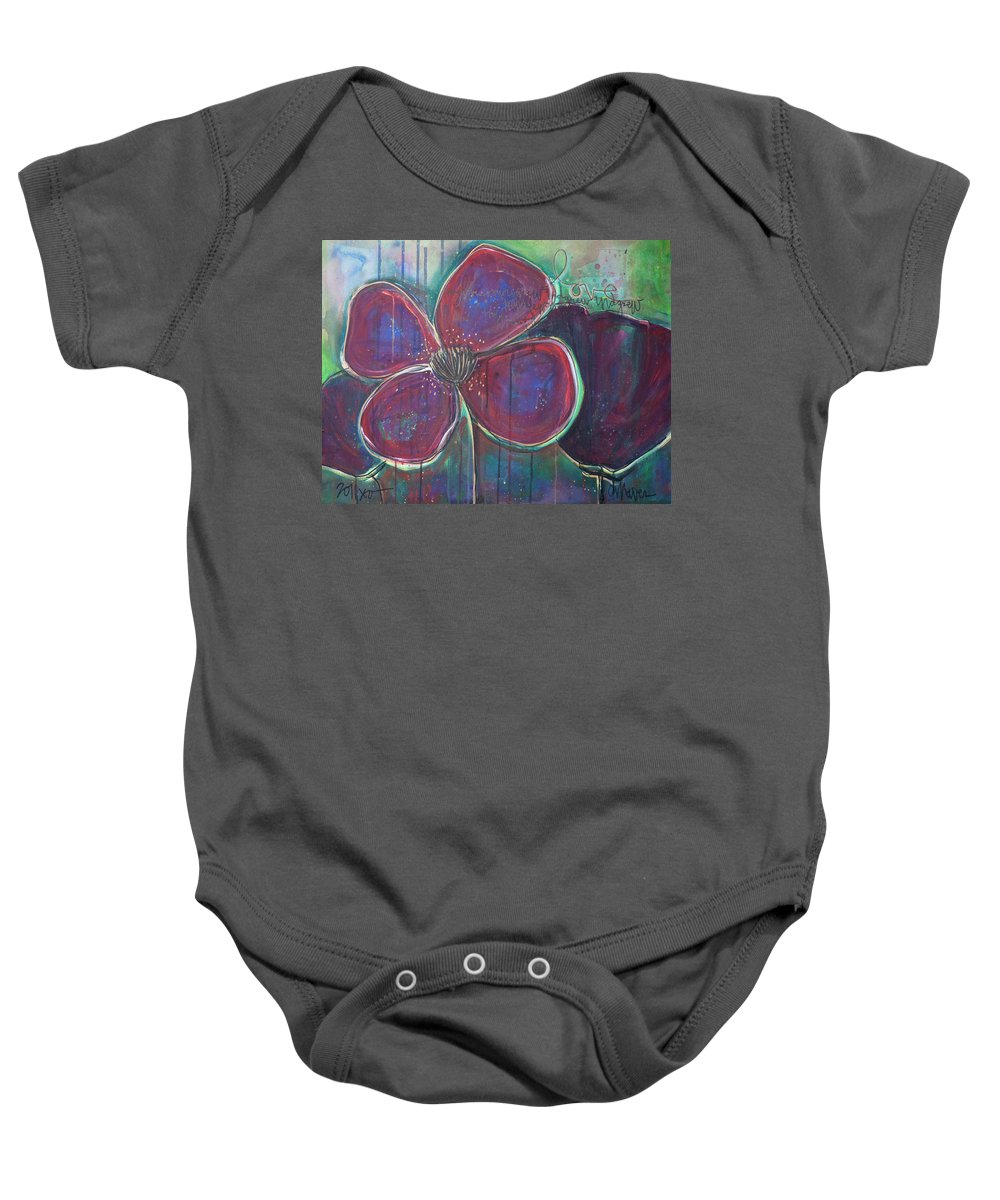Poppies Baby Onesie featuring the painting My Love For You Grew And Grew by Laurie Maves ART