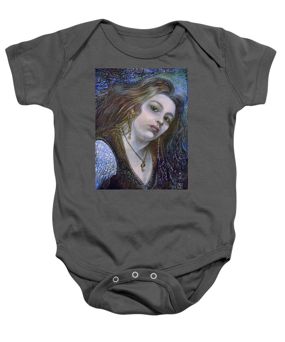 Fantasy Baby Onesie featuring the painting My Mermaid Christan by Otto Rapp