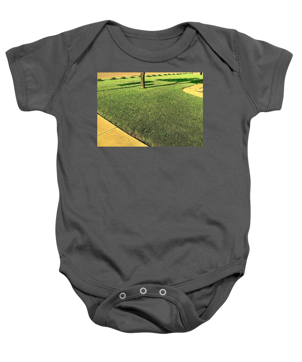 Abstract Baby Onesie featuring the photograph My Neighbor's Yard by Lenore Senior