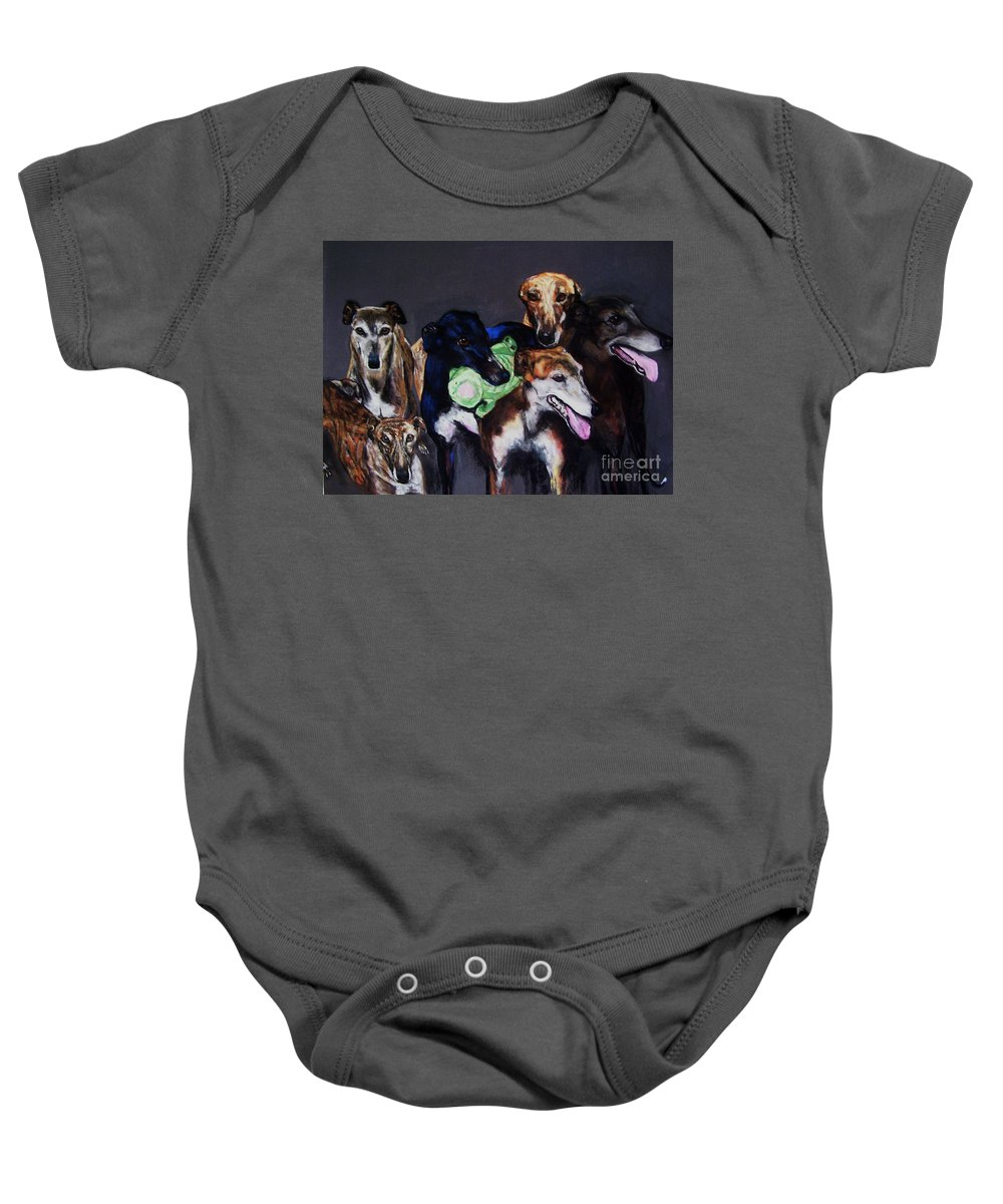 Greyhounds Baby Onesie featuring the painting My Teachers by Frances Marino