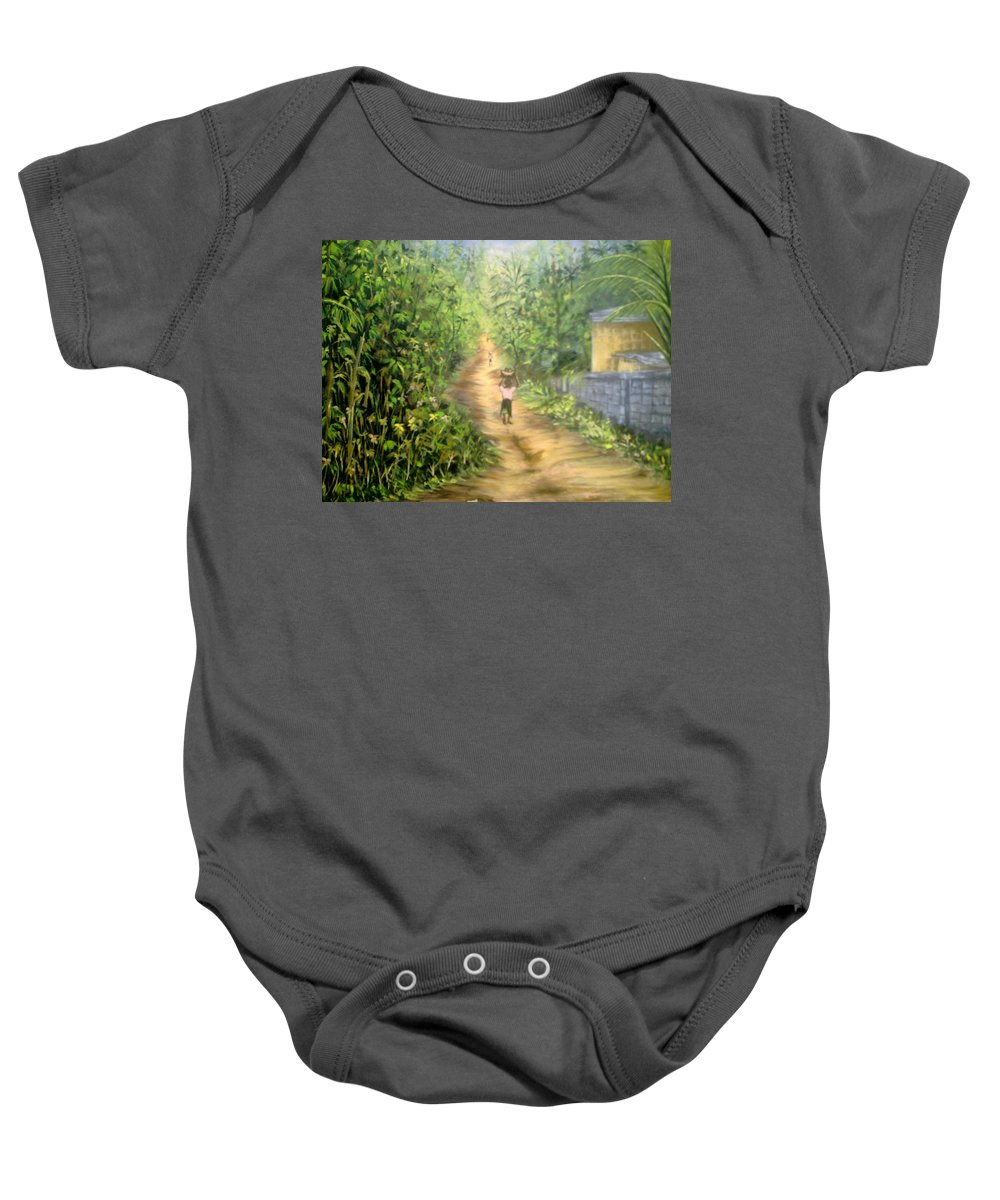 Culture Baby Onesie featuring the painting My Village by Olaoluwa Smith