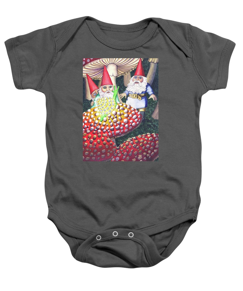 Gnome Baby Onesie featuring the painting Mythical by Catherine G McElroy