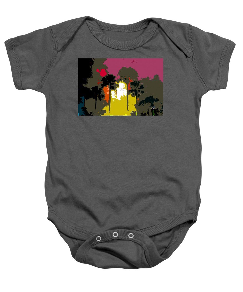Palms Baby Onesie featuring the painting Na Palms by David Lee Thompson