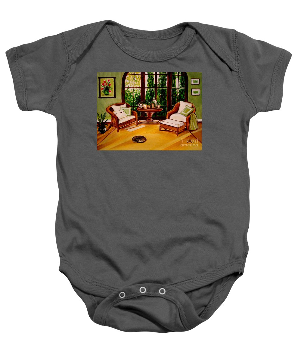 Cats Baby Onesie featuring the painting Nap Time by Elizabeth Robinette Tyndall