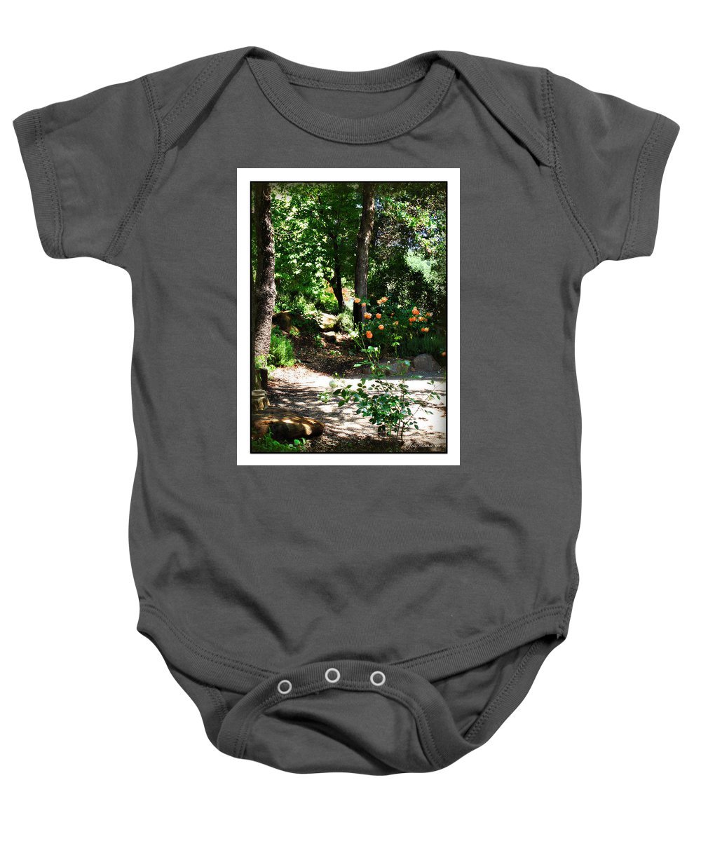 Botanical Baby Onesie featuring the photograph Napa Rose Pathway by Joan Minchak