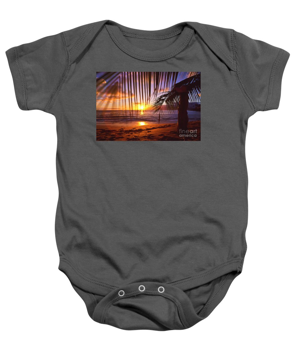 Sunset Baby Onesie featuring the photograph Napili Bay Sunset Maui Hawaii by Jim Cazel