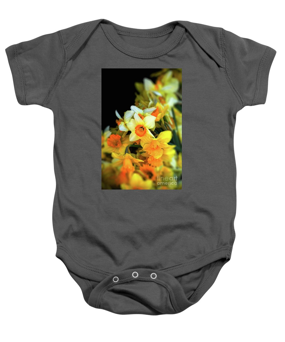 Narcissi Baby Onesie featuring the photograph Narcissi by Silvia Ganora