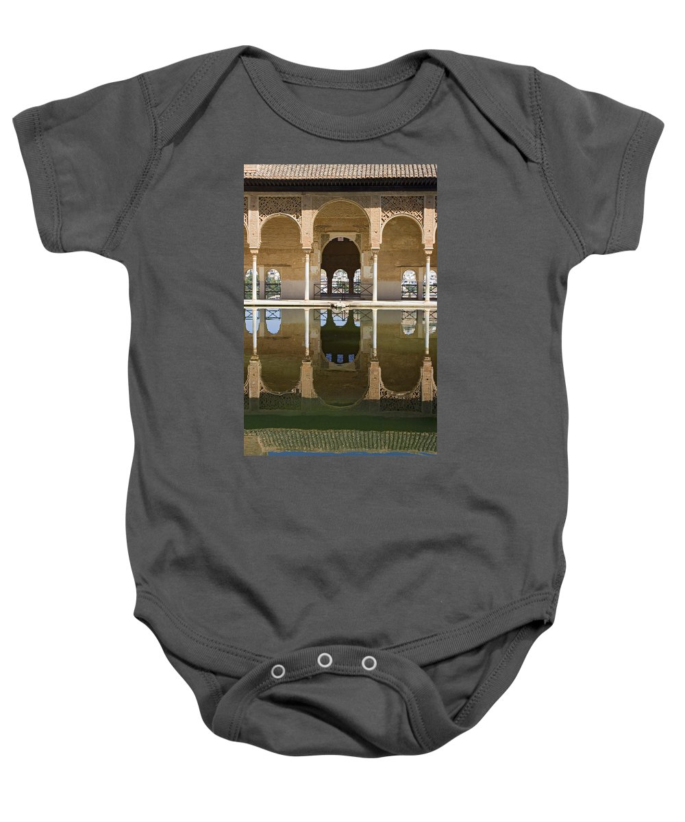 Moorish Baby Onesie featuring the photograph Nasrid Palace Arches Reflection At The Alhambra Granada by Mal Bray