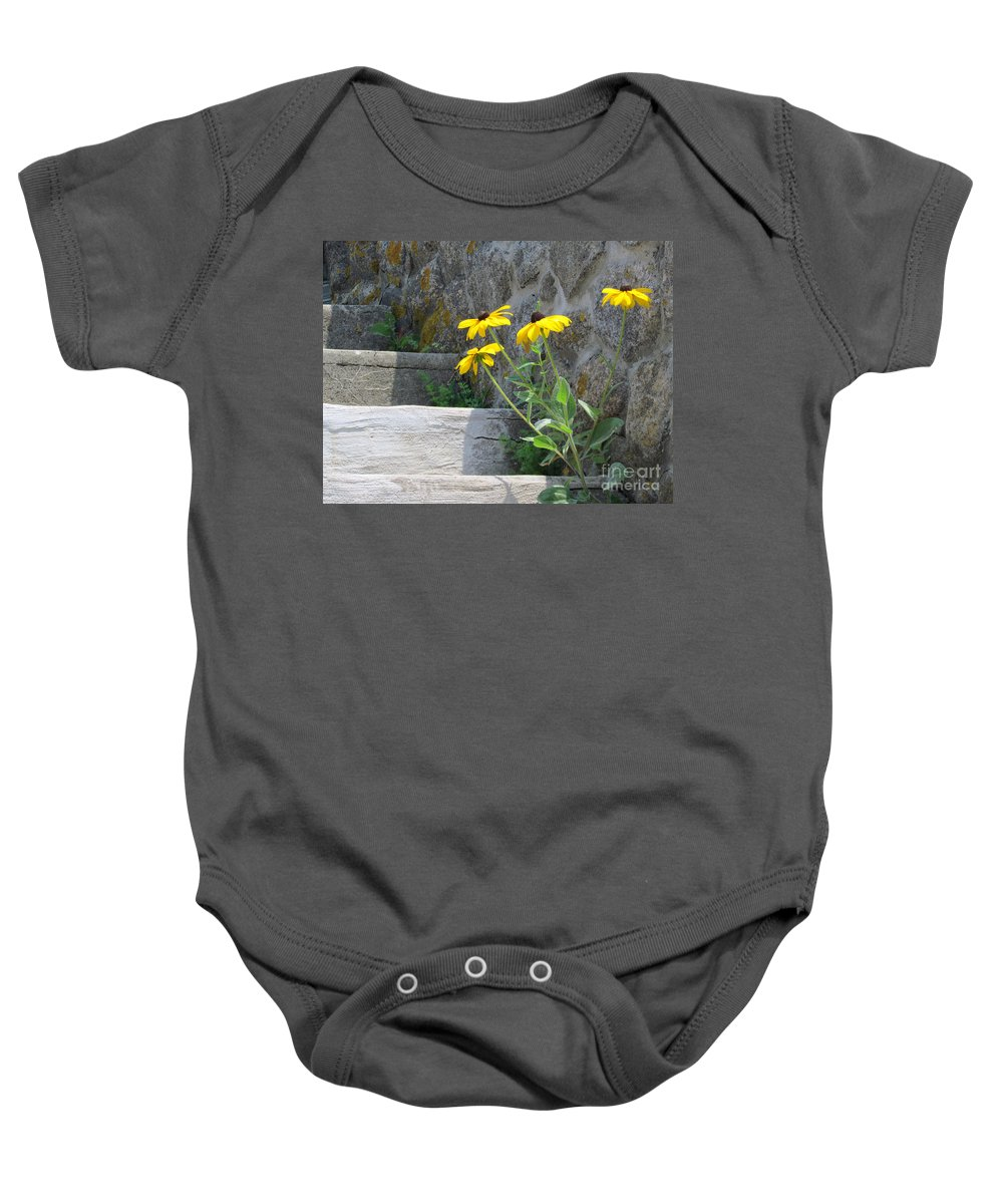 Flowers Baby Onesie featuring the photograph Nature Steps It Up by Lori Pessin Lafargue