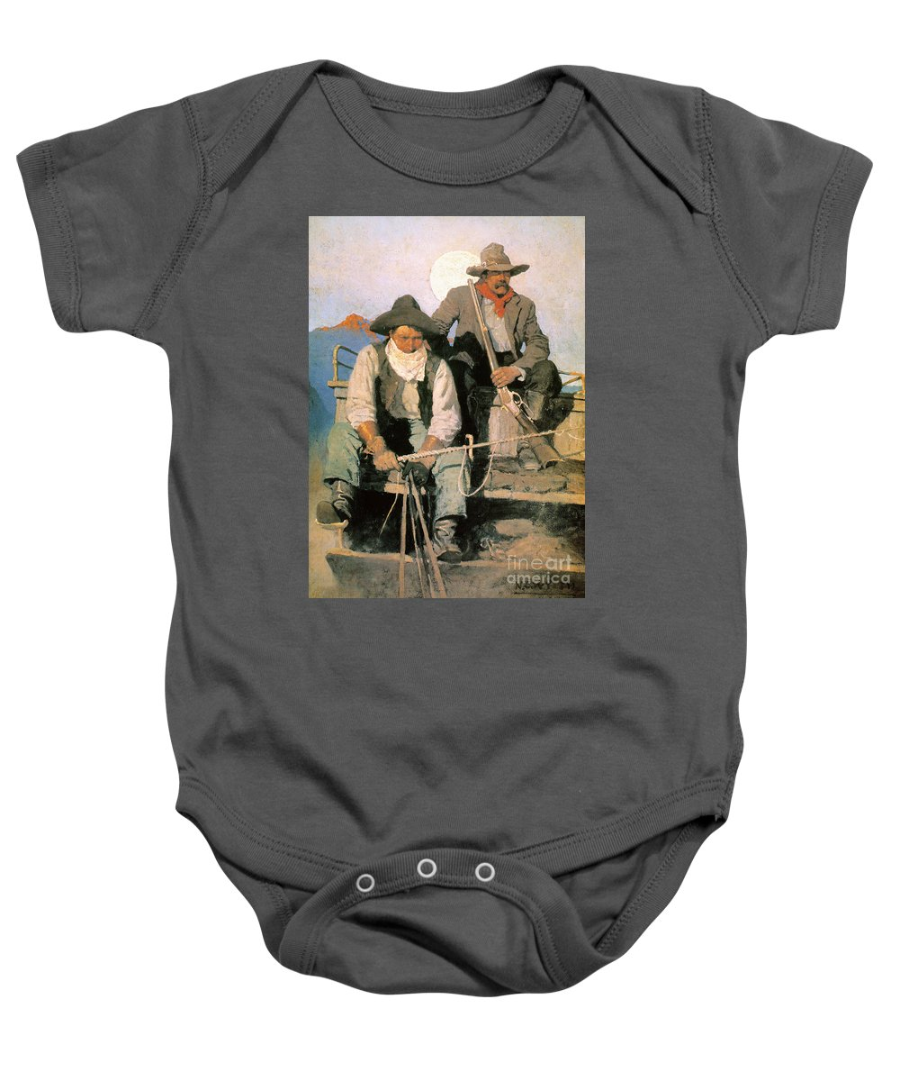 1909 Baby Onesie featuring the photograph N.c. Wyeth: The Pay Stage by Granger