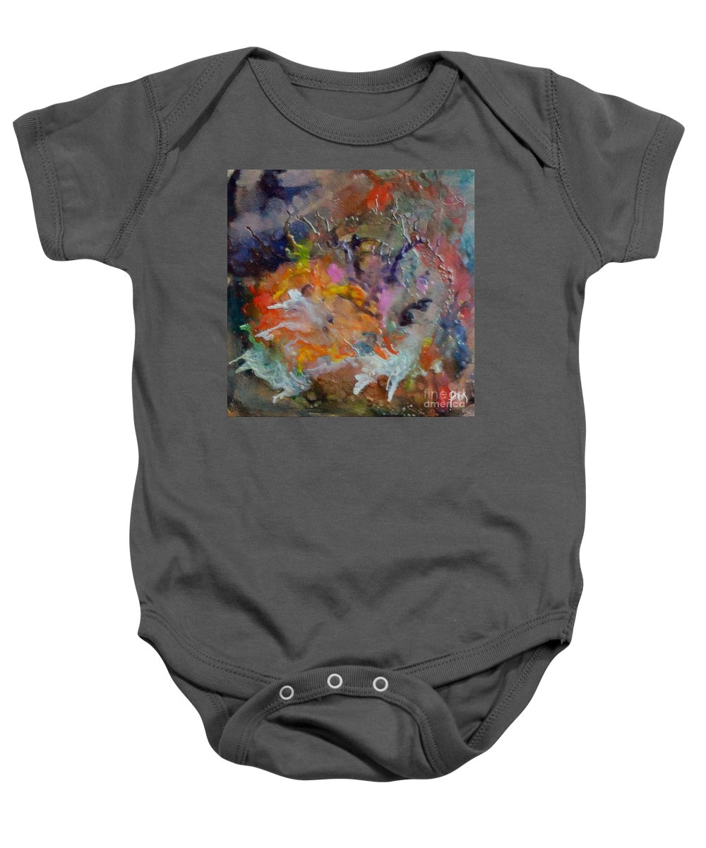 Abstract Baby Onesie featuring the painting Nebula Altair by Dragica Micki Fortuna