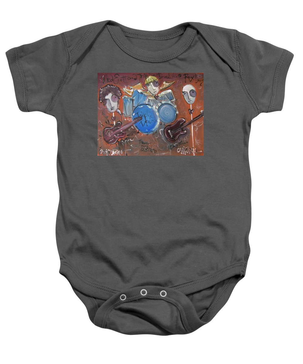 Ned Evett Baby Onesie featuring the painting Ned Evett And Triple Double by Laurie Maves ART