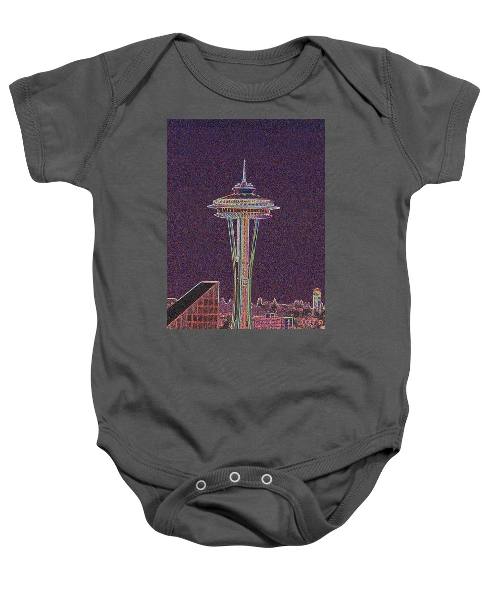 Seattle Baby Onesie featuring the photograph Needle by Tim Allen