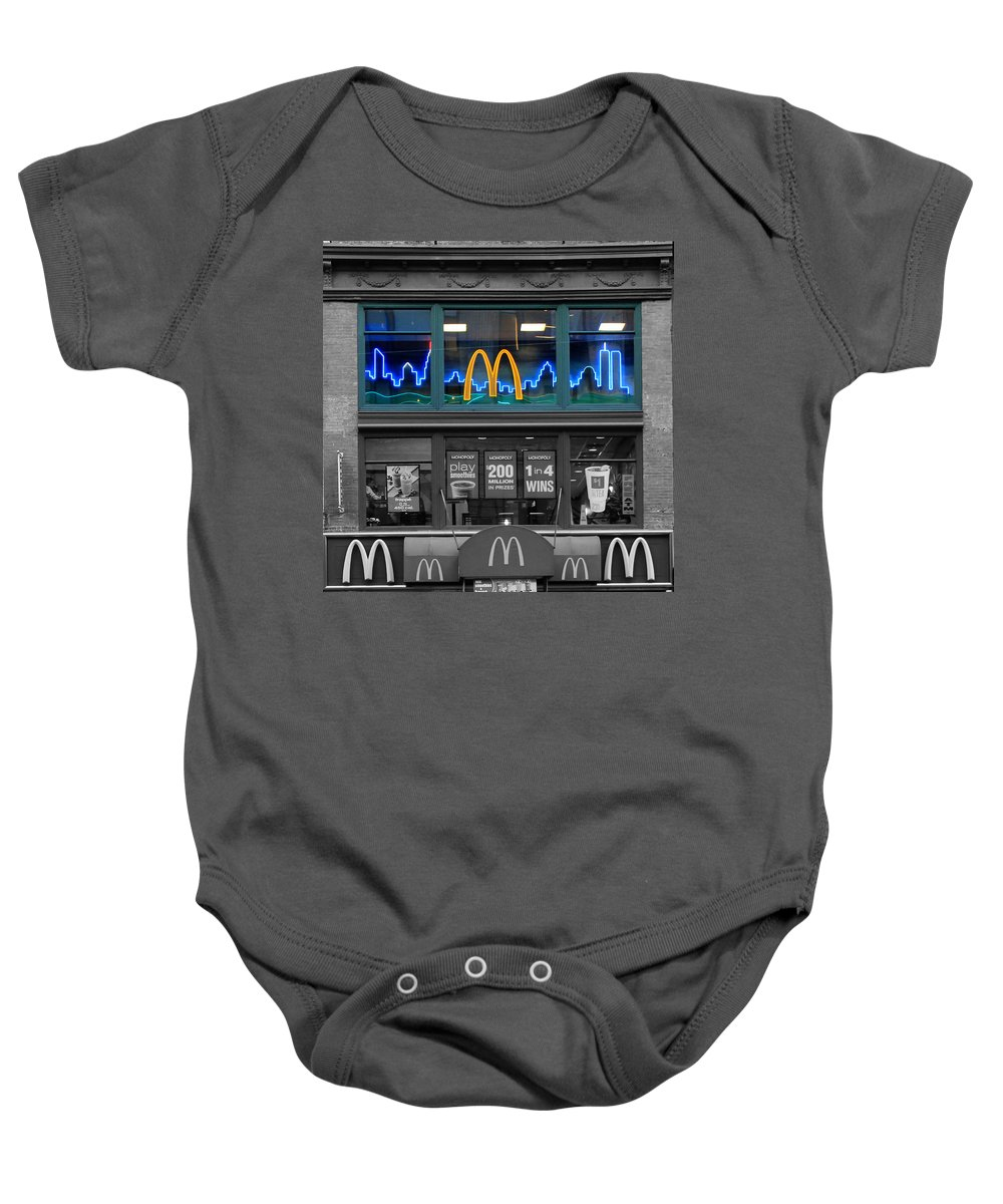 World Trade Center Baby Onesie featuring the photograph Neon Twin Towers by Andrew Fare