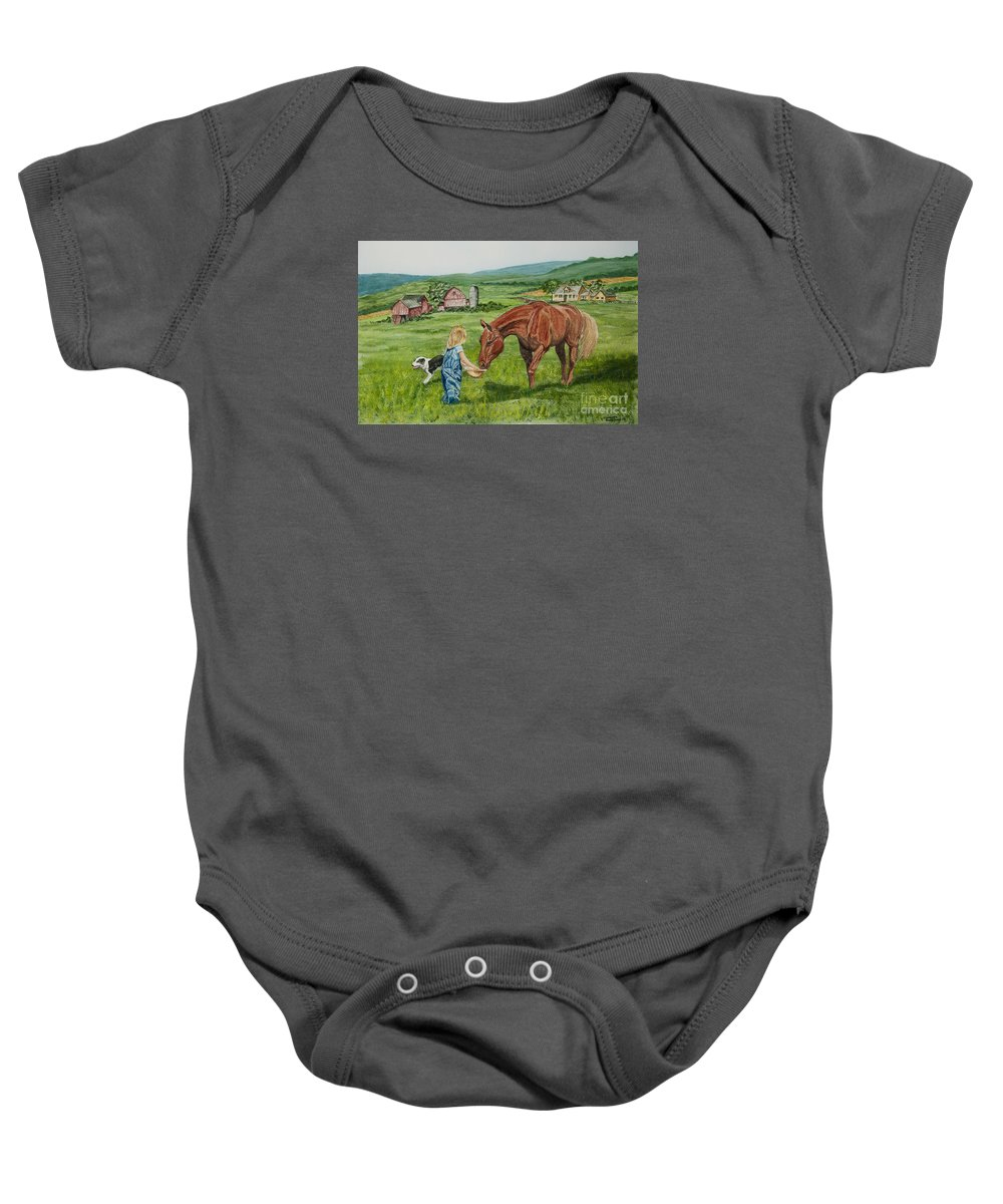 Country Kids Art Baby Onesie featuring the painting New Friends by Charlotte Blanchard