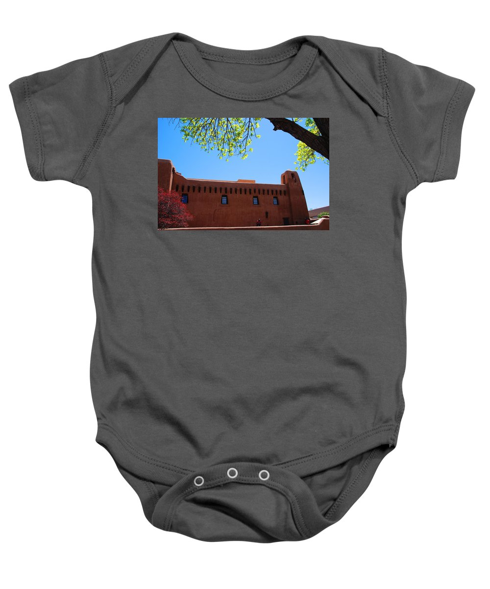 New Mexico Baby Onesie featuring the photograph New Mexico Museum Of Art by Susanne Van Hulst