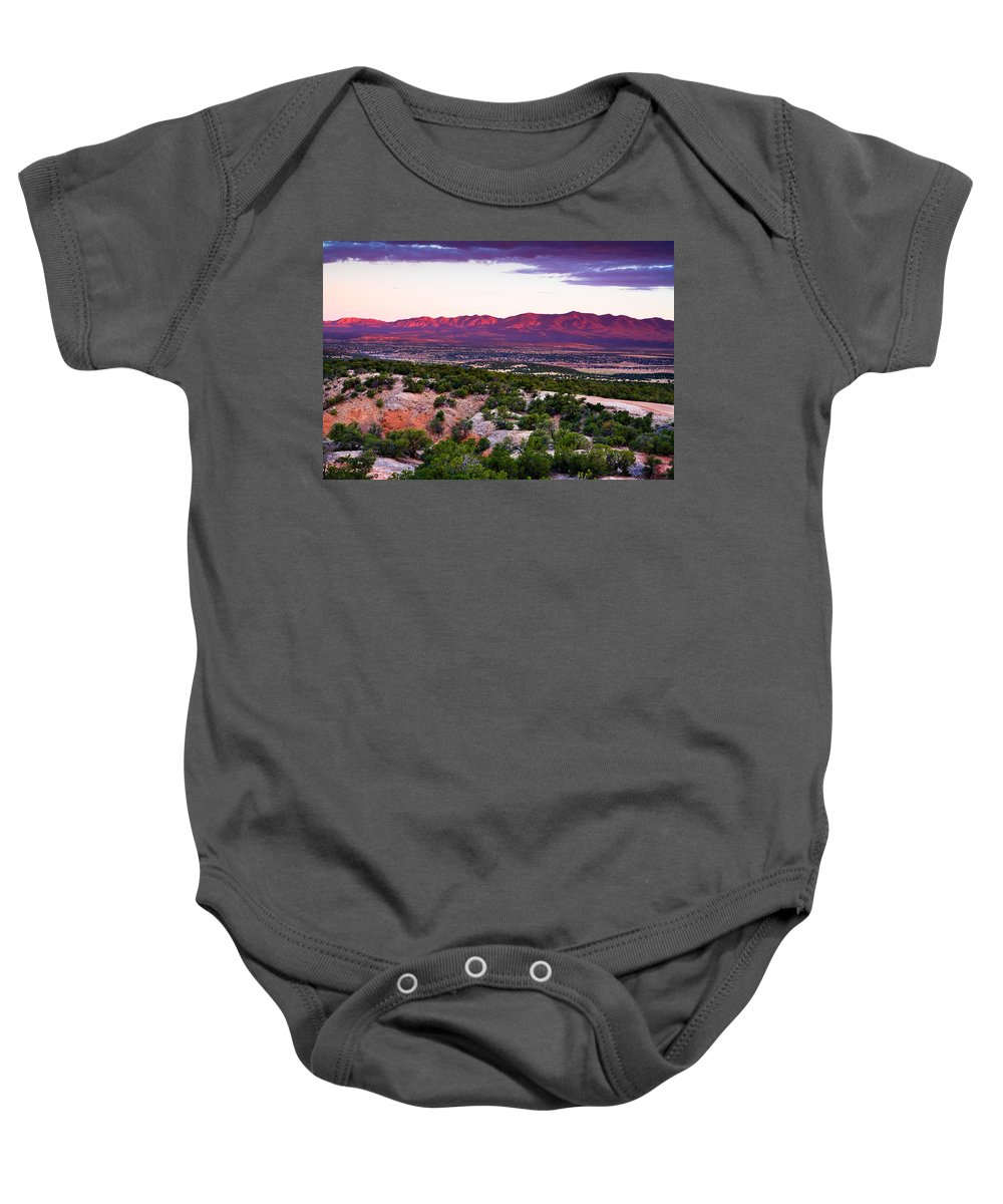 New Mexico Baby Onesie featuring the photograph New Mexico Sunset by Matt Suess