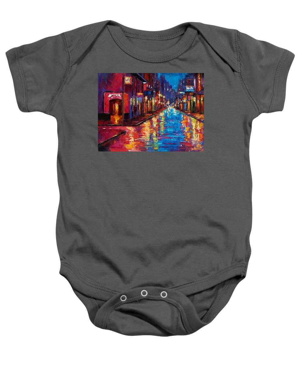 New Orleans Baby Onesie featuring the painting New Orleans Magic by Debra Hurd