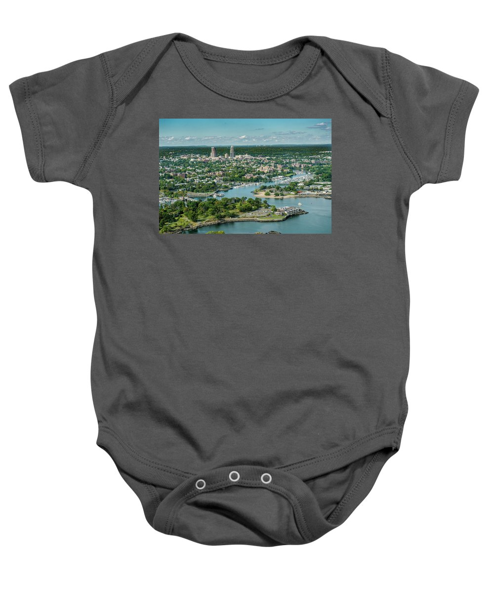 Glen Island Baby Onesie featuring the photograph New Rochelle From The Long Island Sound by Louis Vaccaro