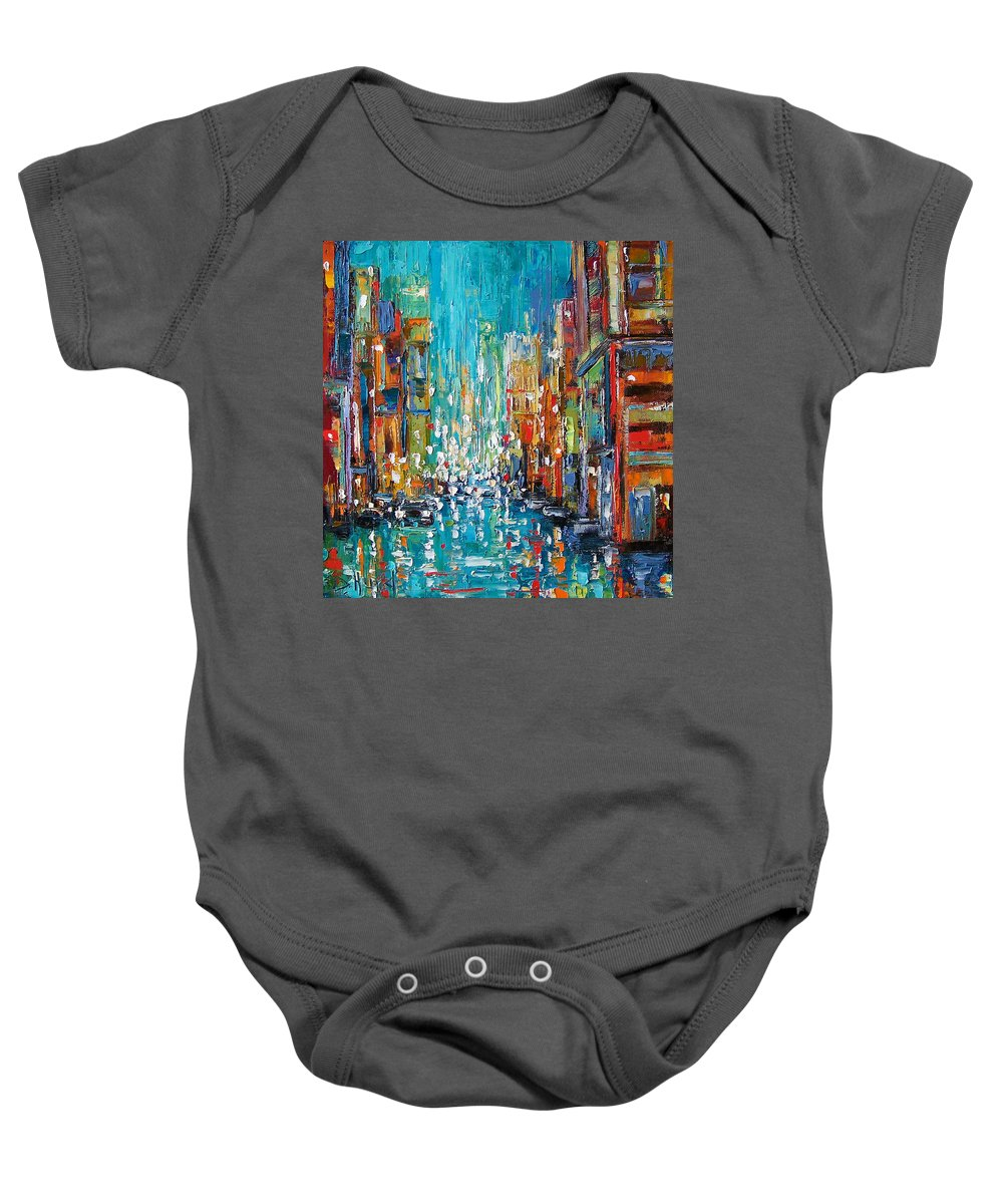 City Art Baby Onesie featuring the painting New York City by Debra Hurd