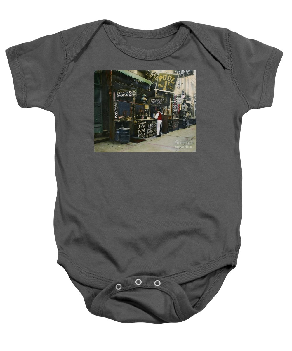 1905 Baby Onesie featuring the photograph New York City Restaurant by Granger