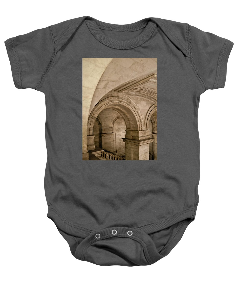 Manhattan Baby Onesie featuring the photograph New York Library by Michael Jacobs