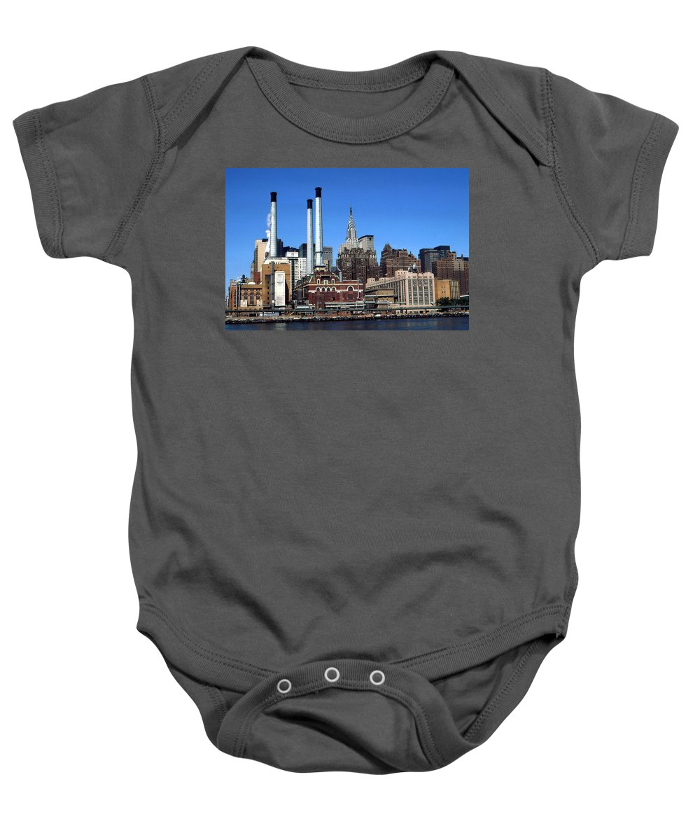 New+york Baby Onesie featuring the photograph New York Mid Manhattan Skyline by Peter Potter