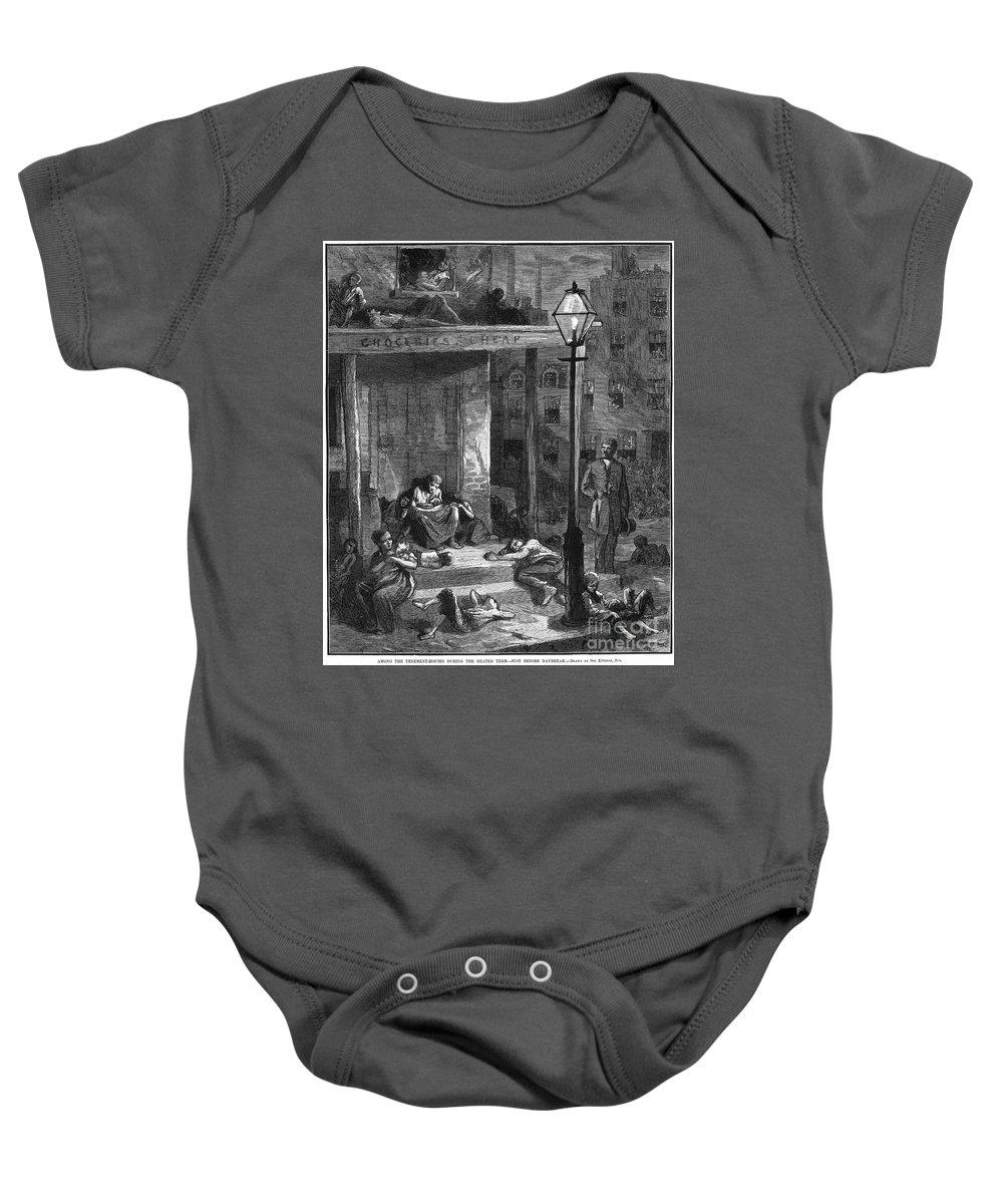 1879 Baby Onesie featuring the photograph New York Poor In Summer by Granger