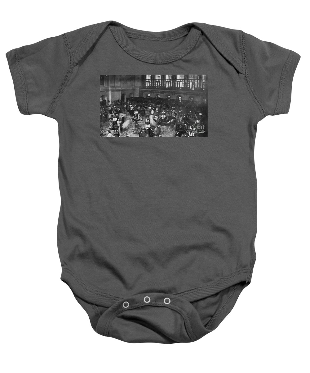 1907 Baby Onesie featuring the photograph New York Stock Exchange by Granger