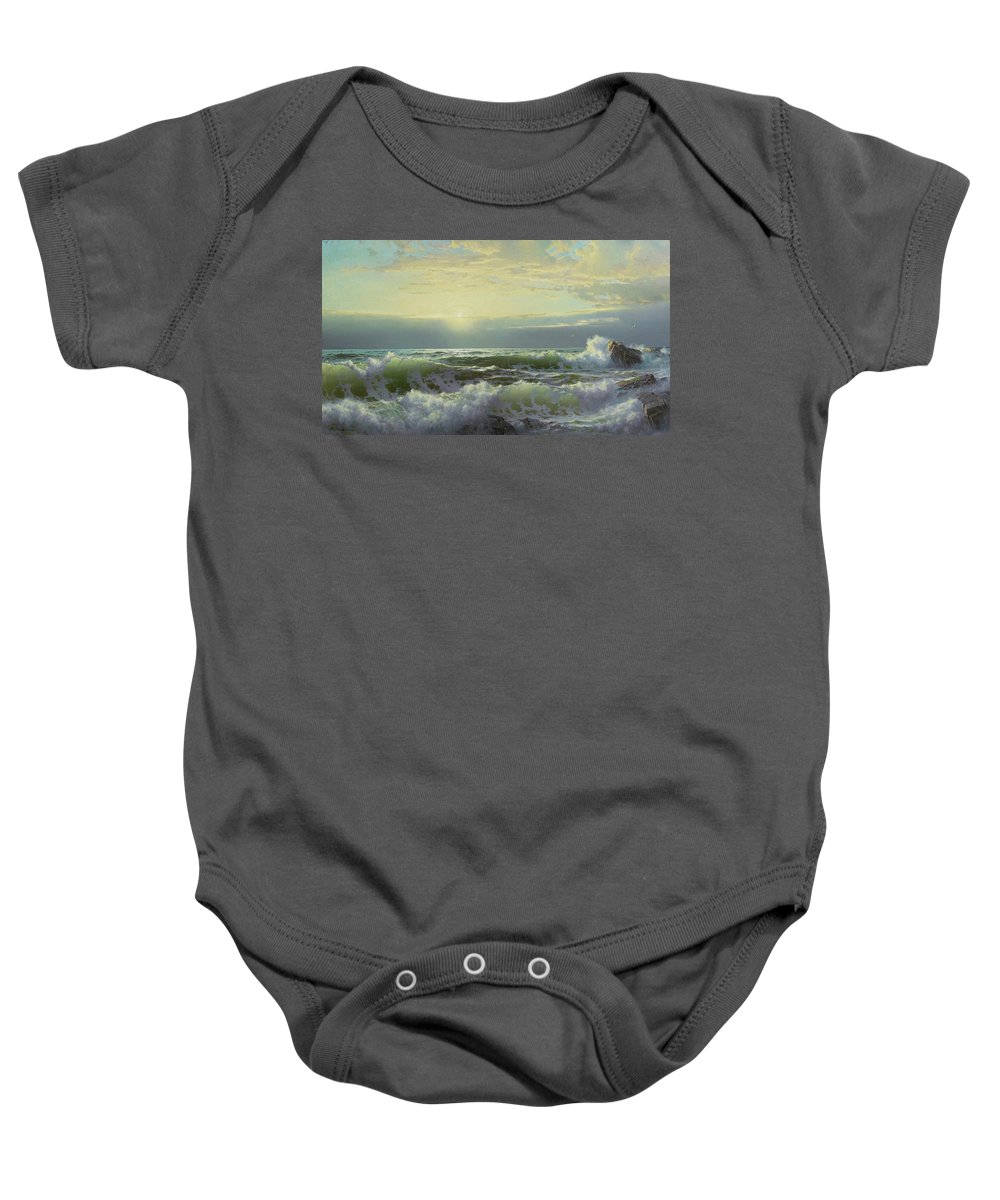 William Trost Richards 1833 - 1905 Off Conanicut Baby Onesie featuring the painting Newport by William Trost