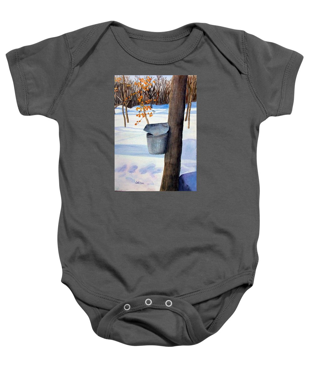 Sap Bucket. Maple Sugaring Baby Onesie featuring the painting Nh Goldmine by Sharon E Allen