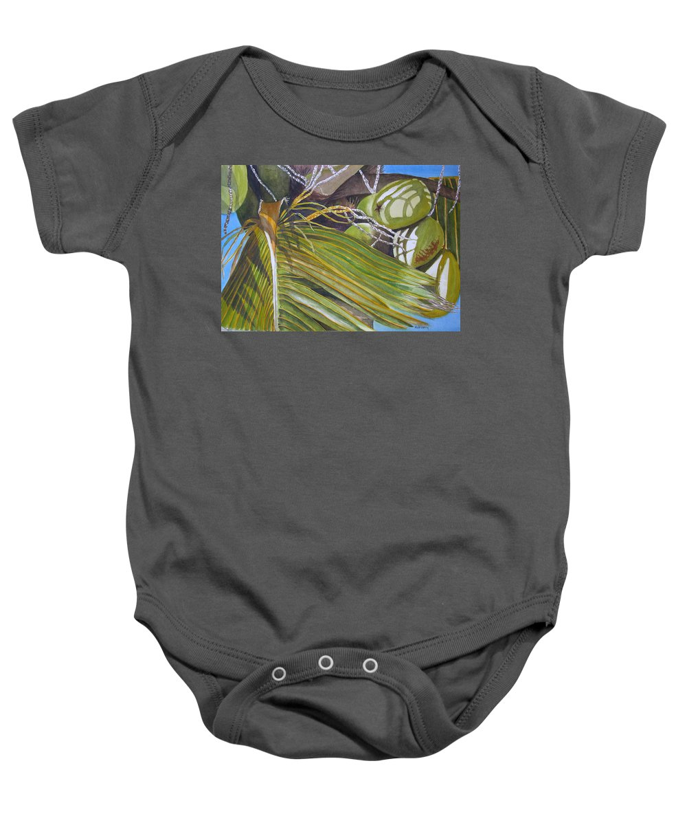Palm Trees Baby Onesie featuring the painting Nick's Coconuts by Terry Arroyo Mulrooney