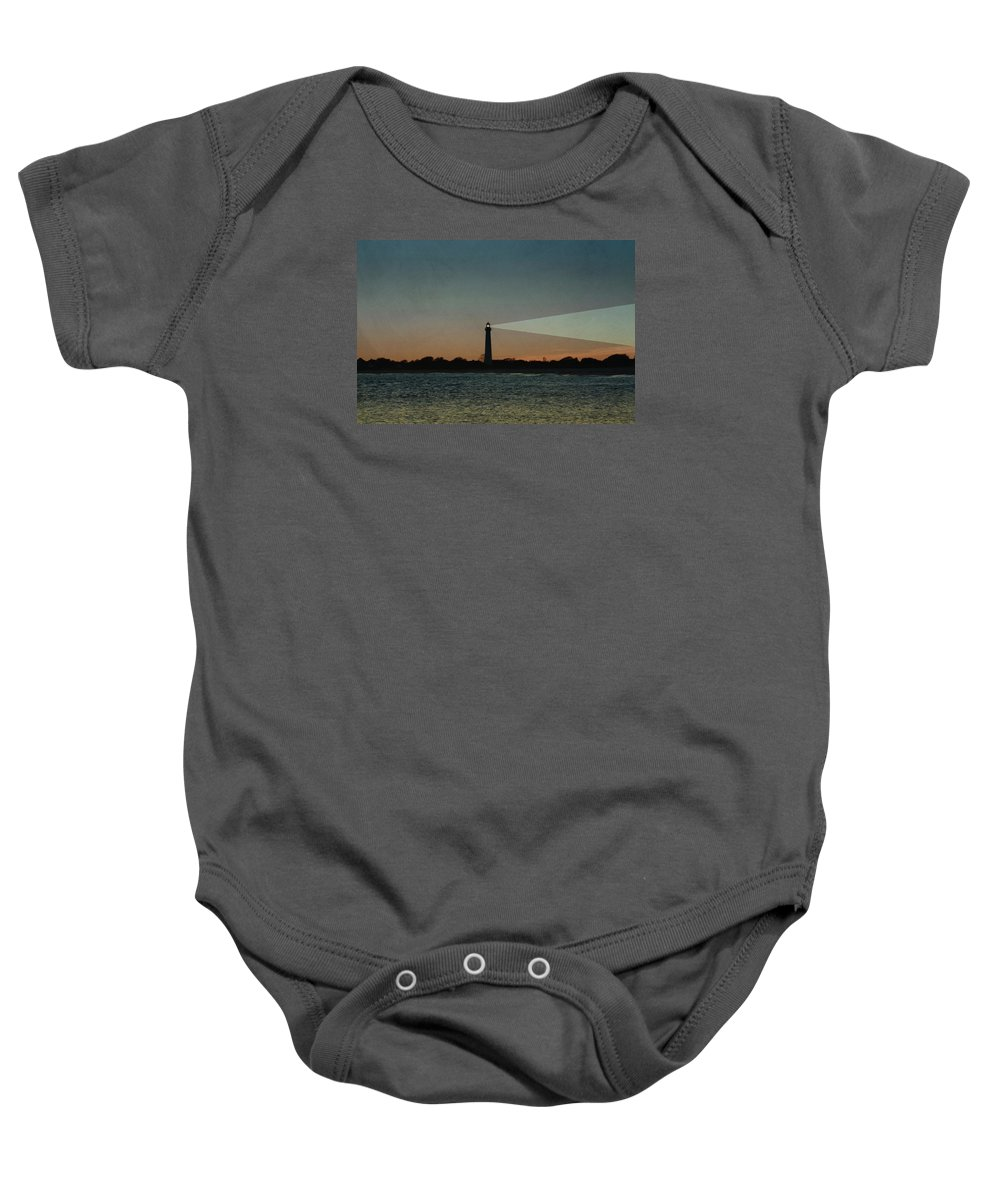 Night Baby Onesie featuring the photograph Night At Cape May Lighthouse by Bill Cannon