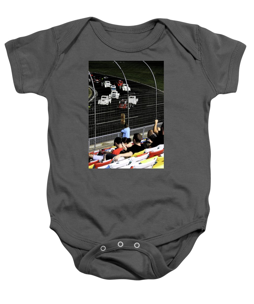 Races Baby Onesie featuring the photograph Night At The Races by Karol Livote