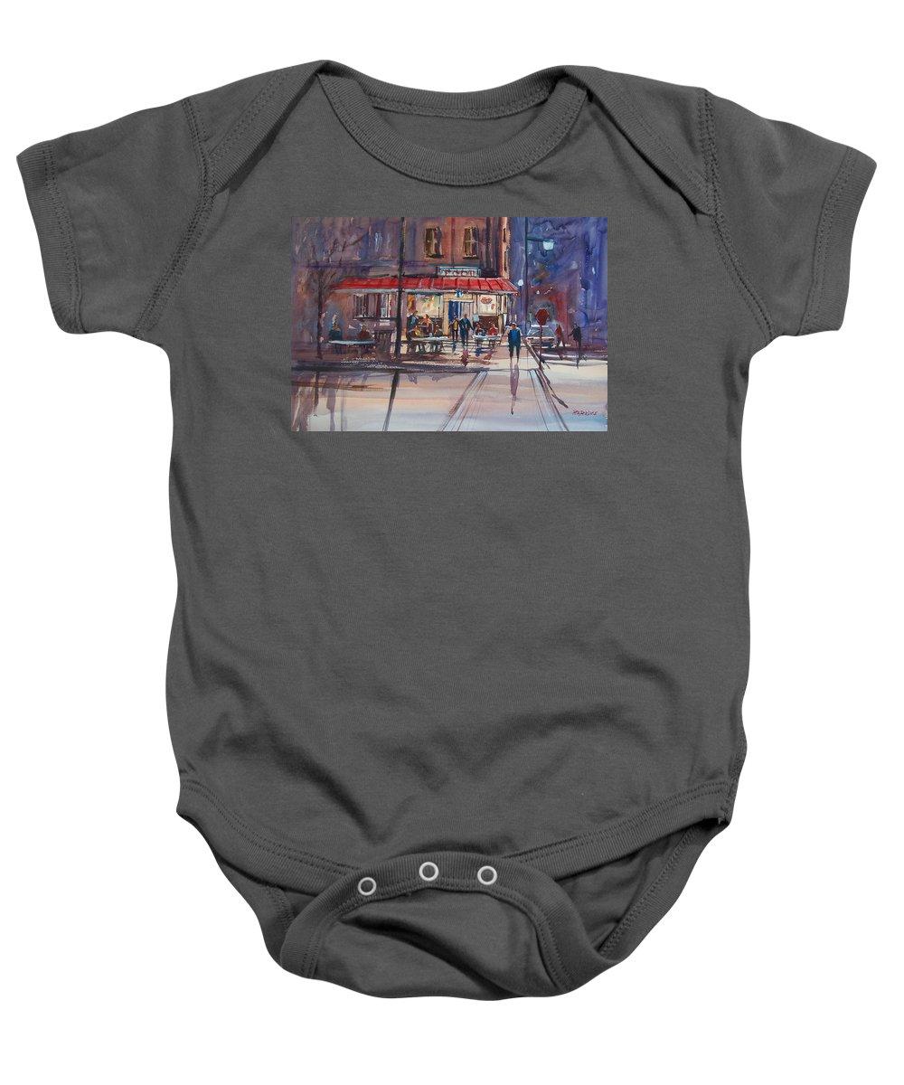 Street Scene Baby Onesie featuring the painting Night Cafe by Ryan Radke