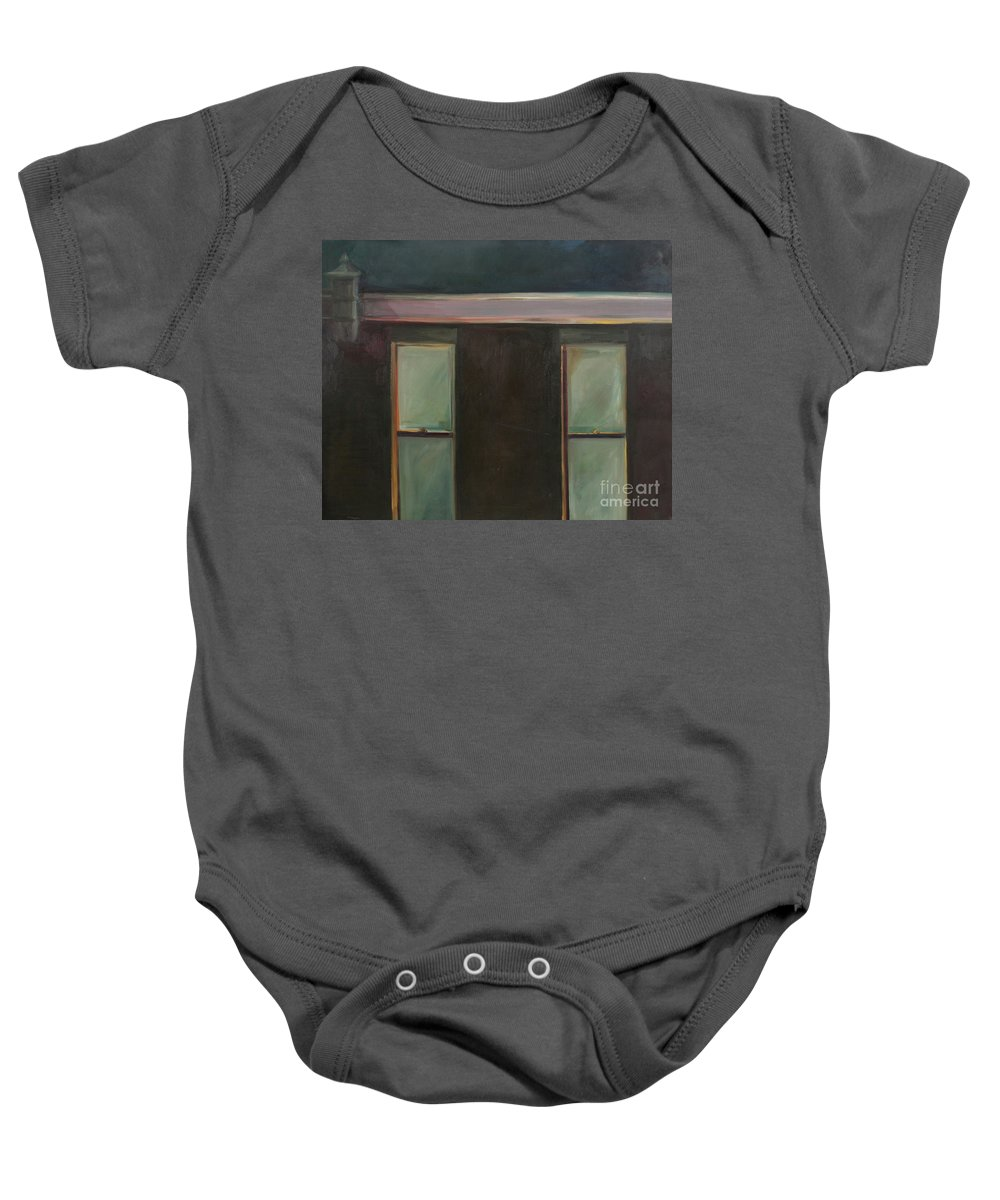 Oil Baby Onesie featuring the painting Night by Daun Soden-Greene