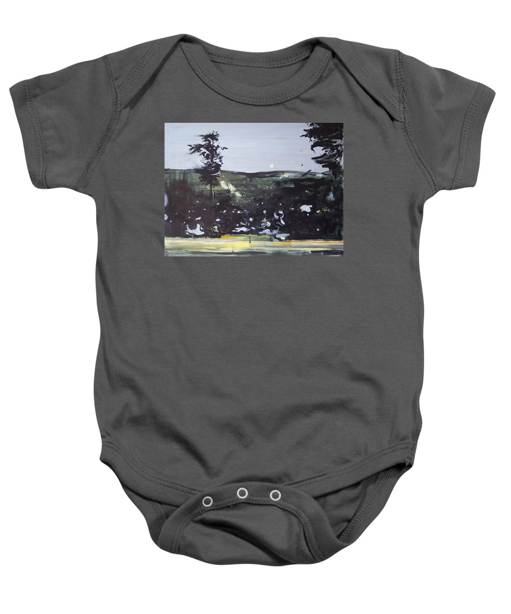 Abstract Baby Onesie featuring the painting Night Landscape From Documentary Still by Calum McClure