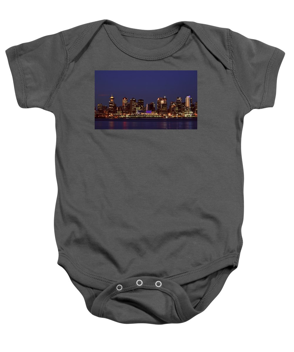 Night Baby Onesie featuring the digital art Night Lights Of Downtown Vancouver by Mark Duffy