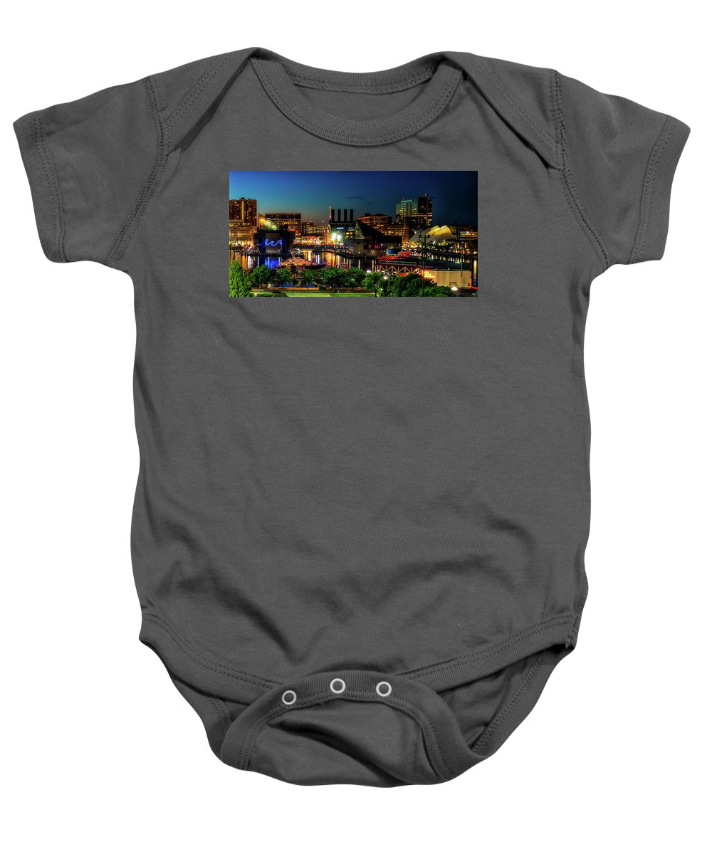 Baltimore Baby Onesie featuring the photograph Night View Inner Harbor by Carol Ward