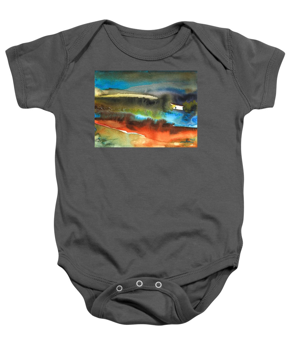 Watercolour Landscape Baby Onesie featuring the painting Nightfall 13 by Miki De Goodaboom